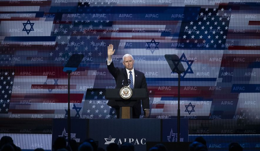 Vice President Mike Pence waves after speaking at the American Israel Public Affairs Committee (AIPAC) 2020 Conference, Monday, March 2, 2020 in Washington. (AP Photo/Alex Brandon)