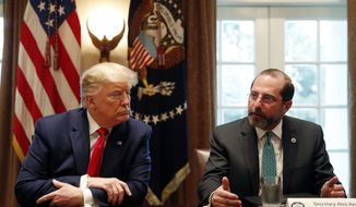 President Donald Trump listens to Health and Human Services Secretary Alex Azar as they meet with pharmaceutical executives in the Cabinet Room of the White House, Monday, March 2, 2020, in Washington. (AP Photo/Andrew Harnik)