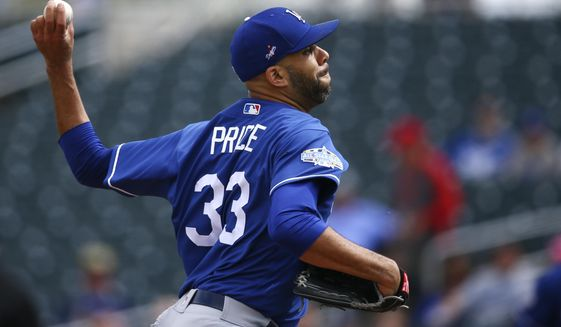 Los Angeles Dodgers starting pitcher David Price throws against the Cincinnati Reds during the first inning of a spring training baseball game Monday, March 2, 2020, in Goodyear, Ariz. (AP Photo/Ross D. Franklin) ** FILE **