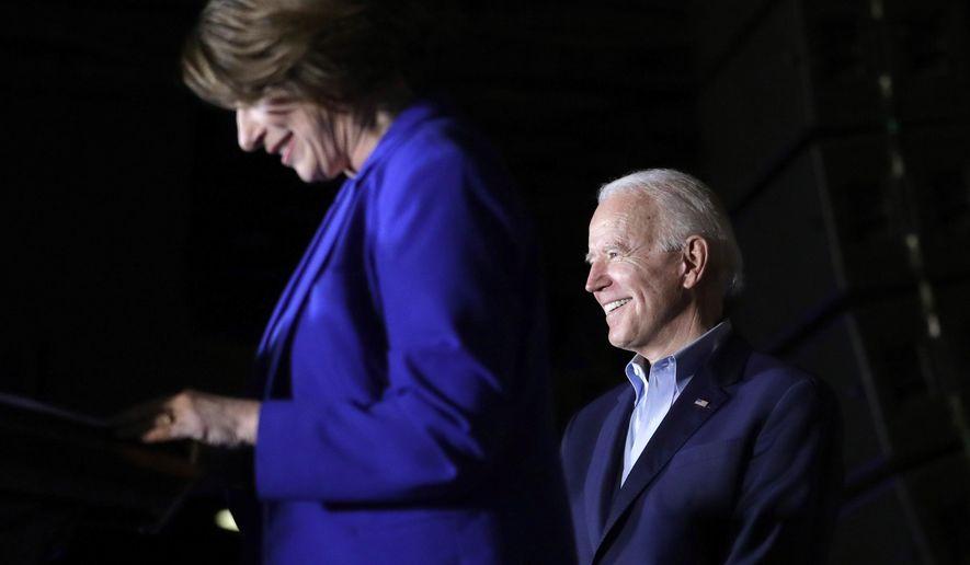 Sen. Amy Klobuchar, D-Minn., endorses Democratic presidential candidate former Vice President Joe Biden at a campaign rally Monday, March 2, 2020 in Dallas. (AP Photo/Eric Gay)