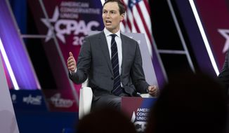 White House senior adviser Jared Kushner speaks during Conservative Political Action Conference, CPAC 2020, at the National Harbor, in Oxon Hill, Md., Friday, Feb. 28, 2020. (AP Photo/Jose Luis Magana)
