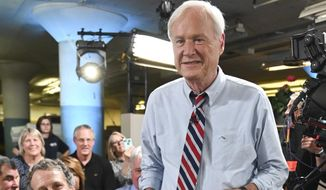 """This June 17, 2019 photo released by MSNBC shows political pundit Chris Matthews in Dayton, Ohio. Matthews announced his retirement on his political talk show """"Hardball with Chris Matthews"""" on Monday, March 2, 2020. (Stephen Cohen/MSNBC via AP)"""