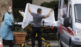FILE - In this Feb. 29, 2020, file photo, a staff member blocks the view as a person is taken by a stretcher to a waiting ambulance from a nursing facility where more than 50 people are sick and being tested for the COVID-19 virus, in Kirkland, Wash. News organizations must walk a fine line in covering coronavirus. They need to convey the story's seriousness without provoking panic and report a flood of news while much remains a mystery. At the same time, they have to remind people who to stay safe and keep their own employees well.  (AP Photo/Elaine Thompson, File)