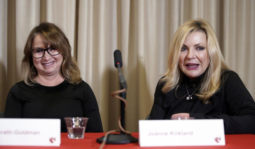 Jeri Seratti-Goldman from southern California, left, and Joanne Kirkland of Knoxville, Tenn., who were being monitored at the University of Nebraska Medical Center in Omaha, Neb. following exposure to the corona virus on a cruise ship in Japan, participate in a news conference Monday, March 2, 2020. They are two of the four Americans cleared to leave quarantine after testing negative for the virus. (AP Photo/Nati Harnik)