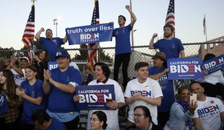 Supporters cheer before a campaign rally for Democratic presidential candidate former Vice President Joe Biden on Tuesday, March 3, 2020, in Los Angeles. (AP Photo/Marcio Jose Sanchez)
