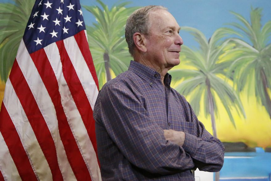 Democratic presidential candidate former New York City Mayor Mike Bloomberg waits to speak at a news conference on Tuesday, March 3, 2020, in Little Havana, a neighborhood in Miami. (AP Photo/Brynn Anderson)