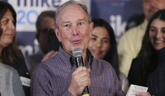 Democratic presidential candidate Mike Bloomberg speaks during an appearance at his field office in Orlando on Tuesday, March 3, 2020. (Stephen M. Dowell/Orlando Sentinel via AP)