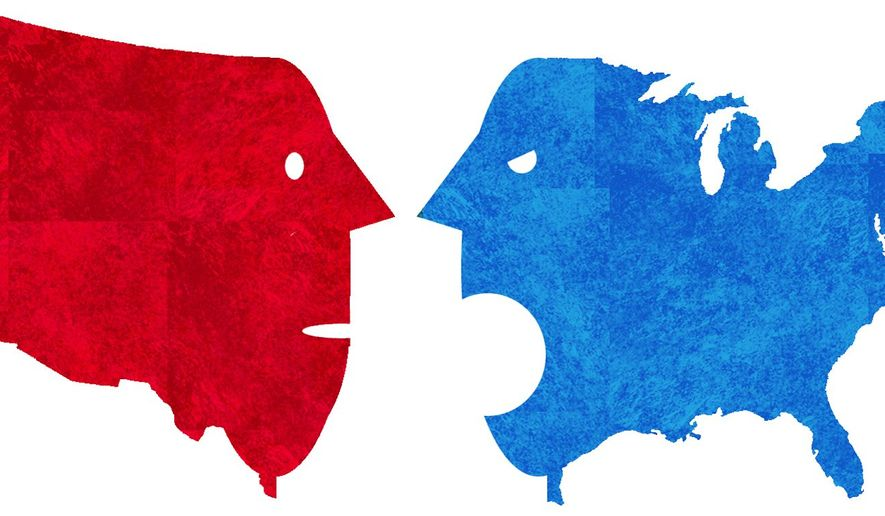 Illustration on a divided America by Alexander Hunter/The Washington Times