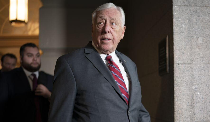 House Majority Leader Steny Hoyer, D-Md., responds to a question about a funding bill to fight the coronavirus outbreak, on Capitol Hill in Washington, Tuesday, March 3, 2020. (AP Photo/J. Scott Applewhite)