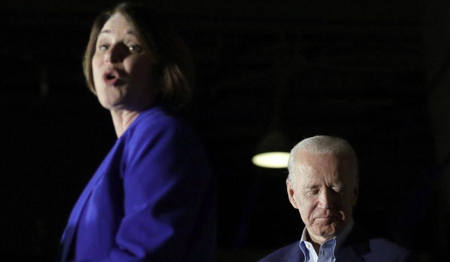 Sen. Amy Klobuchar, D-Minn., endorses Democratic presidential candidate former Vice President Joe Biden at a campaign rally Monday, March 2, 2020, in Dallas. (AP Photo/Eric Gay) **FILE**