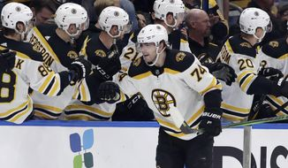 Boston Bruins left wing Jake DeBrusk (74) celebrates with the bench after scoring against the Tampa Bay Lightning during the second period of an NHL hockey game Tuesday, March 3, 2020, in Tampa, Fla. (AP Photo/Chris O'Meara)
