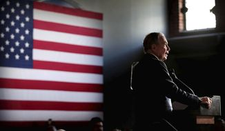 Bloomberg fans gather at Minglewood Hall as Democratic presidential contender Michael Bloomberg delivers his stump speech during a campaign stop in Memphis, Tenn. on Feb. 28, 2020. (Jim Weber/Daily Memphian via AP)