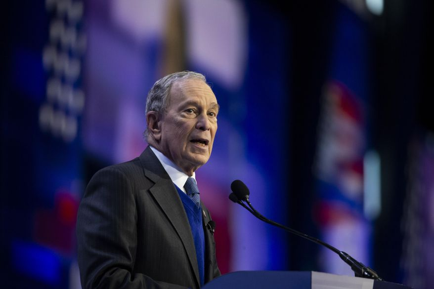 Democratic presidential candidate and former New York City Mayor Mike Bloomberg speaks at the the American Israel Public Affairs Committee (AIPAC) 2020 Conference, Monday, March 2, 2020, in Washington. (AP Photo/Alex Brandon)
