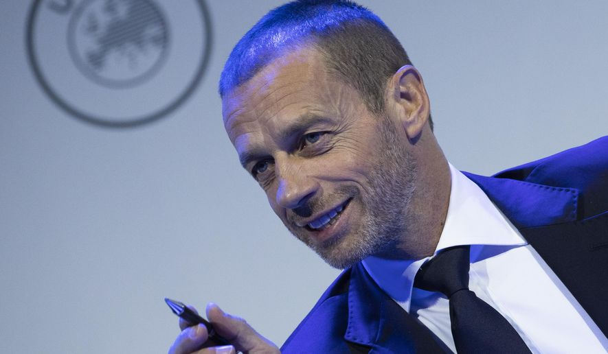 UEFA President Aleksander Ceferin looks up during a meeting of European soccer leaders at the congress of the UEFA governing body in Amsterdam's Beurs van Berlage, Netherlands, Tuesday, March 3, 2020. (AP Photo/Peter Dejong)