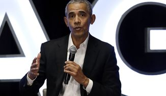 Former President Barack Obama talks during a panel with NBA players Chris Paul, Kevin Love and Giannis Antetokounmpo and sports analyst Michael Wilbon in Chicago on Saturday, Feb. 15, 2020. (AP Photo/Nam Y. Huh) ** FILE **