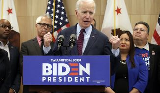 Democratic presidential candidate former Vice President Joe Biden speaks Wednesday, March 4, 2020, in Los Angeles. (AP Photo/Marcio Jose Sanchez)