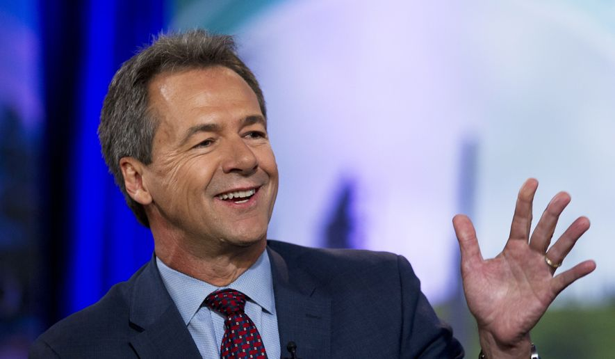 In this Sept. 20, 2019, file photo, then-Democratic presidential candidate Montana Gov. Steve Bullock speaks during the Climate Forum at Georgetown University, in Washington. (AP Photo/Jose Luis Magana, File)
