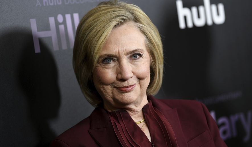 "Former Secretary of State Hillary Clinton attends the premiere of the Hulu documentary ""Hillary"" at the DGA New York Theater on Wednesday, March 4, 2020, in New York. (Photo by Evan Agostini/Invision/AP)"