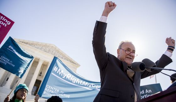 Senate Minority Leader Sen. Chuck Schumer of N.Y. speaks to abortion rights demonstrators at a rally outside the Supreme Court, in Washington, Wednesday, March 4, 2020, as the court takes up the first major abortion case of the Trump era Wednesday, an election-year look at a Louisiana dispute that could reveal how willing the more conservative court is to roll back abortion rights. (AP Photo/Andrew Harnik)