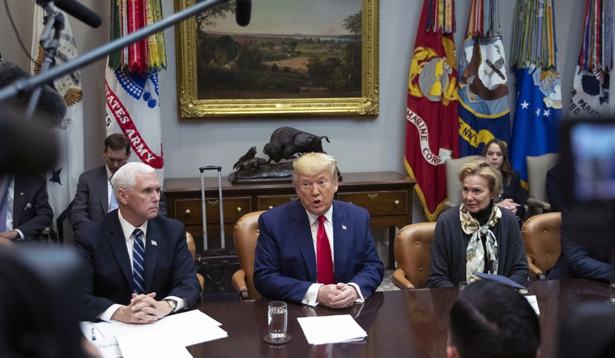 President Donald Trump with Vice President Mike Pence and White House coronavirus response coordinator Dr. Deborah Birx, speaks during a coronavirus briefing with Airline CEOs in at the Roosevelt Room of the White House, Wednesday, March 4, 2020, in Washington. (AP Photo/Manuel Balce Ceneta)