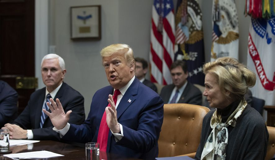 President Donald Trump with Vice President Mike Pence and White House coronavirus response coordinator Dr. Deborah Birx, speaks during a coronavirus briefing with Airline CEOs in the Roosevelt Room of the White House, Wednesday, March 4, 2020, in Washington. (AP Photo/Manuel Balce Ceneta)