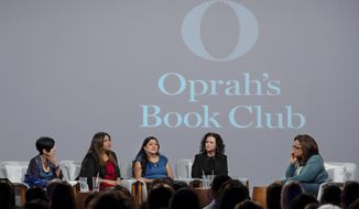 """In this Feb. 13, 2020 photo released by Apple, Oprah Winfrey, right, hosts a taping of Oprah's Book Club with Jeanine Cummins, author of """"American Dirt,"""" second right, and panelists, from left, Esther J. Cepeda, Julissa Arce and Reyna Grande in Tuscon, Ariz. The two-part interview will begin streaming on Apple TV Plus at midnight ET on Friday, March 6.  (Karen Ballard/Apple via AP)"""