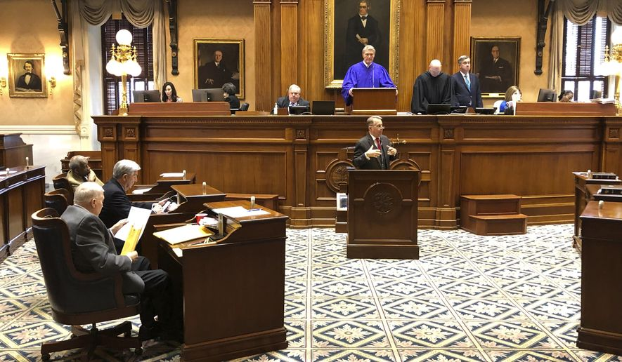 /State Sen. Mike Fanning speaks against a massive education overhaul bill at the South Carolina Statehouse on Wednesday, March 4, 2020 in Columbia, South Carolina. The bill got key approval on Wednesday. (AP Photo/Jeffrey Collins)