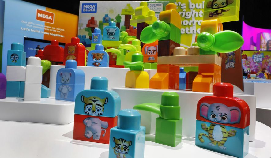 Mega Bloks, by Mattel, are displayed at Toy Fair New York, in the Javits Convention Center, Monday, Feb. 24, 2020. From Baby Yoda to eco-friendly stacking rings, toymakers displayed an array of goods that they hope will be on kids' wish lists for the holiday 2020 season. The four-day Toy Fair comes as the U.S. toy industry has been whipsawed by a number of obstacles.   (AP Photo/Richard Drew)