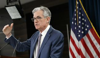 Federal Reserve Chair Jerome Powell speaks during a news conference, Tuesday, March 3, 2020, to discuss an announcement from the Federal Open Market Committee, in Washington. (AP Photo/Jacquelyn Martin) ** FILE **