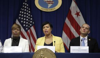 District of Columbia Mayor Muriel Bowser, center, speaks as Dr. LaQuandra S. Nesbitt, Director, DC Department of Health, left, and Christopher Rodriguez, Director, DC Homeland Security and Emergency Management Services, right, listen during a news conference about the District's monitoring, preparation, and response to the coronavirus, technically known as COVID-19, Tuesday, March 3, 2020, in Washington. (AP Photo/Luis M. Alvarez) **FILE**