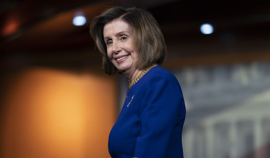 House Speaker Nancy Pelosi, D-Calif., leaves after speaking at a news conference on Capitol Hill in Washington, Thursday, March 5, 2020. (AP Photo/J. Scott Applewhite)