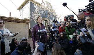 Sen. Elizabeth Warren, D-Mass., speaks to the media outside her home, Thursday, March 5, 2020, in Cambridge, Mass., after she dropped out of the Democratic presidential race. (AP Photo/Steven Senne)