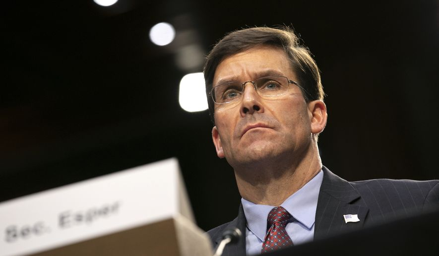 Defense Secretary Mark Esper testifies to the Senate Armed Services Committee about the budget, Wednesday, March 4, 2020, on Capitol Hill in Washington. (AP Photo/Jacquelyn Martin) ** FILE **