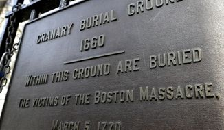 In this Tuesday, March 3, 2020, file photo, a plaque is posted at the entrance to the Granary Burial Ground in Boston. The historic graveyard is the burial place of victims of the 1770 shooting by British soldiers, known as the Boston Massacre. The city marked the 250th anniversary of the massacre that helped spark the Revolutionary War. The Daughters of the American Revolution hosted a public tribute Thursday, March 5, 2020, at the grave of the five victims of the violent conflict with British soldiers on March 5, 1770. (AP Photo/Steven Senne)