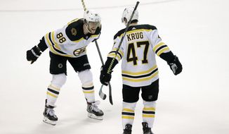 Boston Bruins right wing David Pastrnak (88) celebrates with defenseman Torey Krug (47) after Krug scored the winning goal during an overtime period of an NHL hockey game against the Florida Panthers, Thursday, March 5, 2020, in Sunrise, Fla. (AP Photo/Wilfredo Lee)