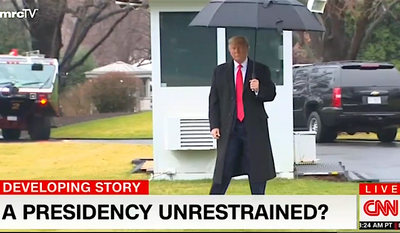 """The news media is rolling out the adjectives in an attempt to portray President Trump as """"emboldened"""" or """"unhinged"""" says a new Media Research Center study. (Image courtesy of the Media Research Center)"""