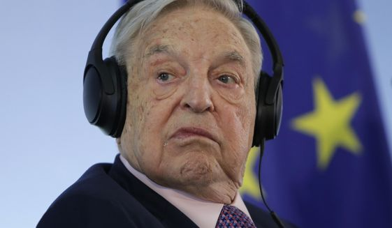 In this Thursday, June 8, 2017 file photo, Hungarian-American investor and CEU founder George Soros attends a press conference at the Foreign Ministry in Berlin, Germany.  (AP Photo/Ferdinand Ostrop, file)  **FILE**