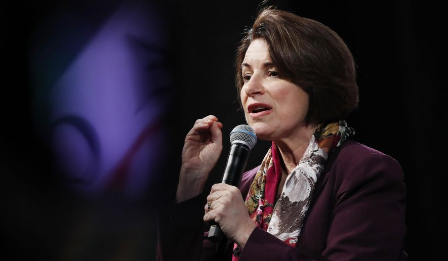 In this Feb. 13, 2020, photo, Democratic presidential candidate Sen. Amy Klobuchar, D-Minn., speaks at the LULAC Presidential Town Hall in Las Vegas. (AP Photo/John Locher) **FILE**