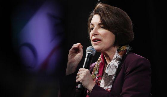 In this Feb. 13, 2020, photo, Democratic presidential candidate Sen. Amy Klobuchar, D-Minn., speaks at the LULAC Presidential Town Hall in Las Vegas. (AP Photo/John Locher) **FILE**