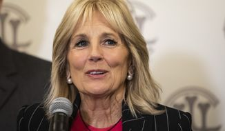 Former Second Lady of the United States Jill Biden speaks during a press conference at the Union League Club after her husband, former Vice President Joe Biden, received presidential endorsement Friday, March 6, 2020, from Chicago Mayor Lori Lightfoot, U.S. Sen. Dick Durbin and other members of the Illinois congressional delegation. (Ashlee Rezin Garcia/Chicago Sun-Times via AP)