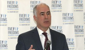 Sen. Bob Casey, D-Pa., makes a point during his speech detailing the Five Freedoms for America's Children at the Children's Service Center of Wyoming Valley Friday Morning March 6, 2020, in Wilkes Barre Pa.  (Dave Scherbenco/The Citizens' Voice via AP) ** FILE **