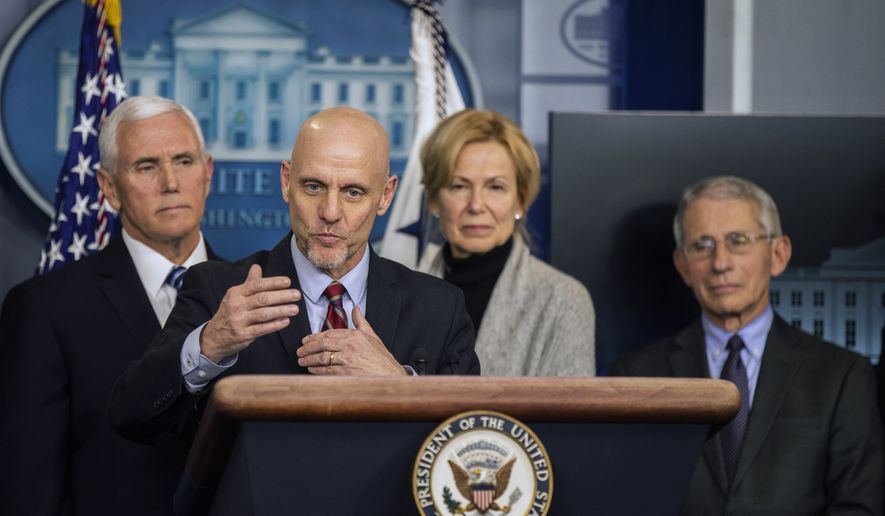 U.S. Food and Drug Administration Commissioner Stephen Hahn, with, from left, Vice President Mike Pence, White House coronavirus response coordinator Dr. Deborah Birx and Director of the National Institute of Allergy and Infectious Diseases at the National Institutes of Health Dr. Anthony Fauci, speaks to reporters during a coronavirus briefing in the Brady press briefing room of the White House, Friday, March 6, 2020, in Washington. (AP Photo/Manuel Balce Ceneta)  **FILE**