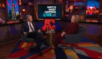 "Hillary Clinton speculated about what she believes President Trump is ""hiding"" in the tax returns he refuses to release to Congress during the after-show segment of Bravo's ""Watch What Happens Live"" on March 5, 2020. (Bravo)"