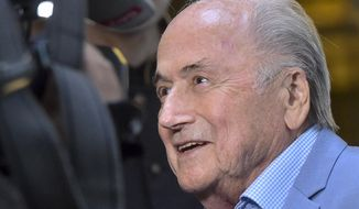 FILE - In this Tuesday, June 19, 2018 file photo, former FIFA President Joseph Blatter arrives at a hotel in Moscow, Russia. Suspended former FIFA president Sepp Blatter has arrived in Moscow for a World Cup visit at the invitation of Russian President Vladimir Putin. Five years into a sprawling investigation of soccer corruption, the first courtroom trial in Switzerland is due to begin Monday, March 9, 2020 in a 2006 World Cup fraud case. Sepp Blatter, the former FIFA president, and German soccer great Franz Beckenbauer are listed by Switzerland's federal criminal court to testify in the trial of four soccer officials implicated in a suspect 6.7 million euros ($7.6 million) payment. (AP Photo/Dmitry Serebryakov, file)