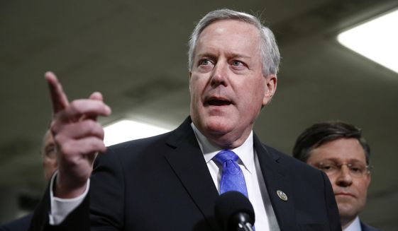 In this Jan. 29, 2020, file photo, then-Rep. Mark Meadows, R-N.C., speaks with reporters on Capitol Hill in Washington. (AP Photo/Patrick Semansky, File)