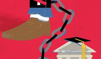 Student debt forgiveness and free tuition  illustration by Linas Garsys / The Washington Times