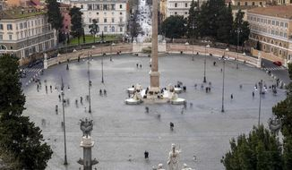 A view of Piazza del Popolo, in Rome, Saturday, March 7, 2020. With the coronavirus emergency deepening in Europe, Italy, a focal point in the contagion, risks falling back into recession as foreign tourists are spooked from visiting its cultural treasures and the global market shrinks for prized artisanal products, from fashion to design. (AP Photo/Andrew Medichini)