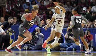 Arkansas Chelsea Dungee (33) drives against South Carolina's Mikiah Herbert-Harrigan during a semifinal match at the Southeastern conference women's NCAA college basketball tournament in Greenville, S.C., Saturday, March 7, 2020. (AP Photo/Richard Shiro)