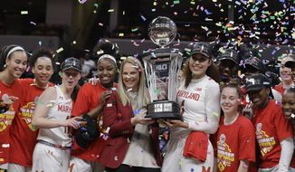 Maryland head coach Brenda Frese, center, celebrates with her team after Maryland defeated Ohio State, 82-65, to win NCAA college basketball championship game at the Big Ten Conference tournament, Sunday, March 8, 2020, in Indianapolis. (AP Photo/Darron Cummings)