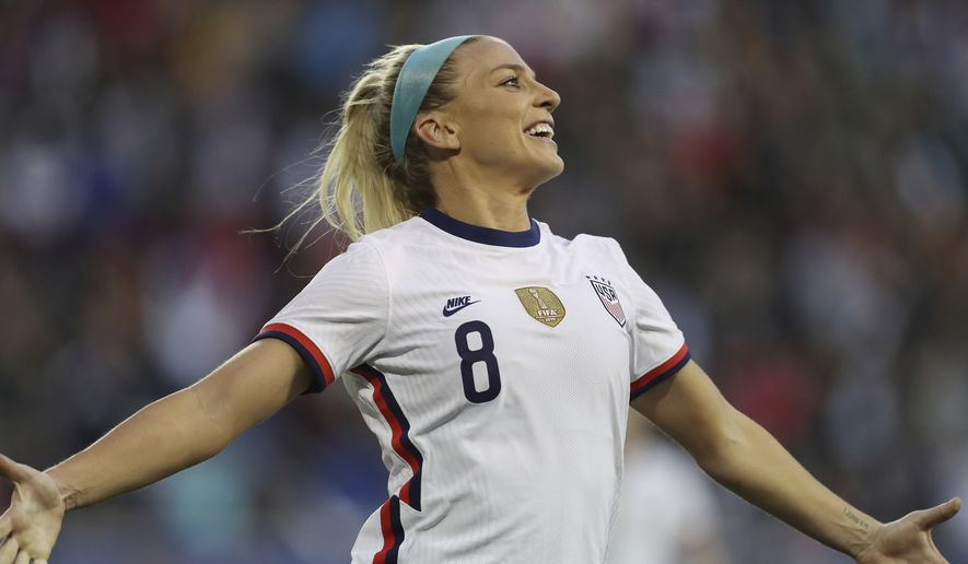 United States midfielder Julie Ertz (8) celebrates after scoring a goal during the second half of a SheBelieves Cup soccer match against Spain Sunday, March 8, 2020, in Harrison, N.J. The United States won 1-0. (AP Photo/Steve Luciano)